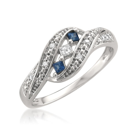 14k White Gold Princess-cut & Round Diamond & Blue Sapphire Fashion Band Ring (1/5 cttw, H-I, I1-I2)