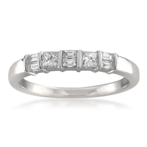 14k White Gold Baguette & Princess-cut Diamond Bridal Wedding Band Ring (3/8 cttw, H-I, I1-I2)