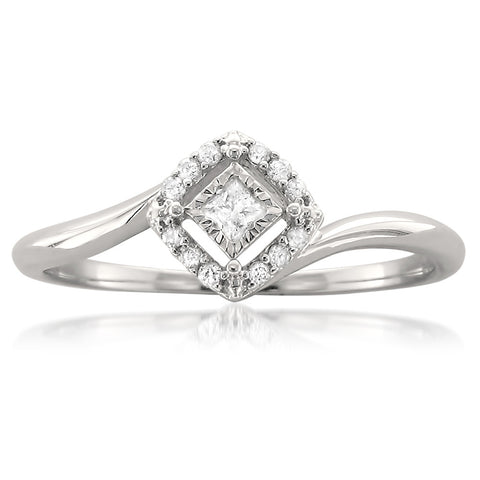 14k White Gold Princess-cut & Round Diamond Invisible-Set Engagement Ring (1/4 cttw, H-I, I1-I2)