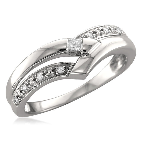 14k White Gold Princess-cut & Round Diamond Fashion Band Ring (1/10 cttw, H-I, I1-I2)