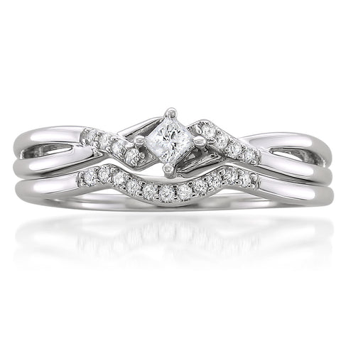 10k White Gold Princess-cut & Round Diamond Engagement Bridal Set Wedding Ring (1/5 cttw, H-I, I1-I2)