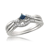 10k White Gold Princess-cut Sapphire & Round Diamond Engagement Bridal Set Ring (1/5 cttw, I-J, I1-I2)