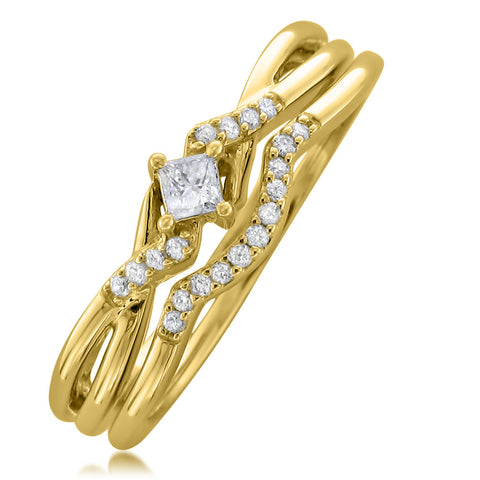 10k Yellow Gold Princess-cut & Round Diamond Engagement Bridal Set Wedding Ring (1/5 cttw, I-J, I1-I2)
