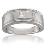 14k White Gold Princess-cut Diamond Men's Wedding Band Ring (1/6 cttw, H-I, SI1-SI2)