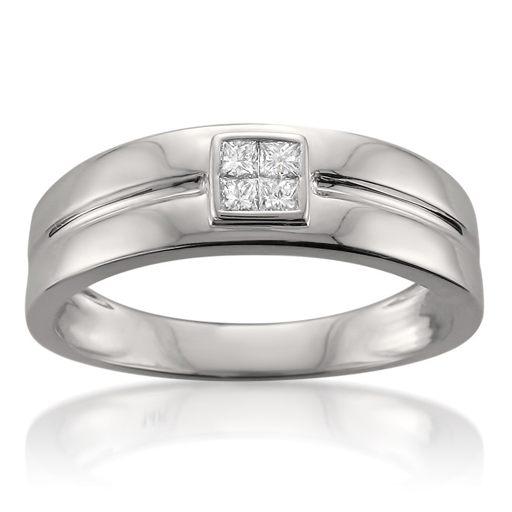 14k White Gold Princess-cut Diamond Men