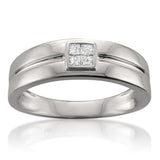 14k White Gold Princess-cut Diamond Men's Wedding Band Ring (1/4 cttw, H-I, SI1-SI2)