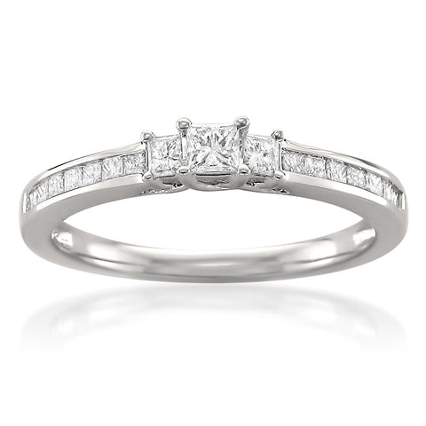 14k White Gold Princess-cut Three-Stone Diamond Engagement Ring (1/2 cttw, H-I, I1-I2)