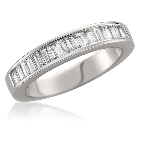 14k White Gold Baguette Diamond Bridal Wedding Band Ring (3/4 cttw, H-I, VS2-SI1)