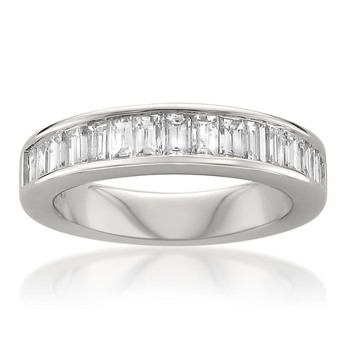14k White Gold Baguette Diamond Bridal Wedding Band Ring (1 cttw, H-I, SI1-SI2)