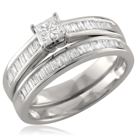 14k White Gold Princess-cut & Baguette Diamond Engagement Bridal Set Wedding Ring (1 cttw, H-I, I1)