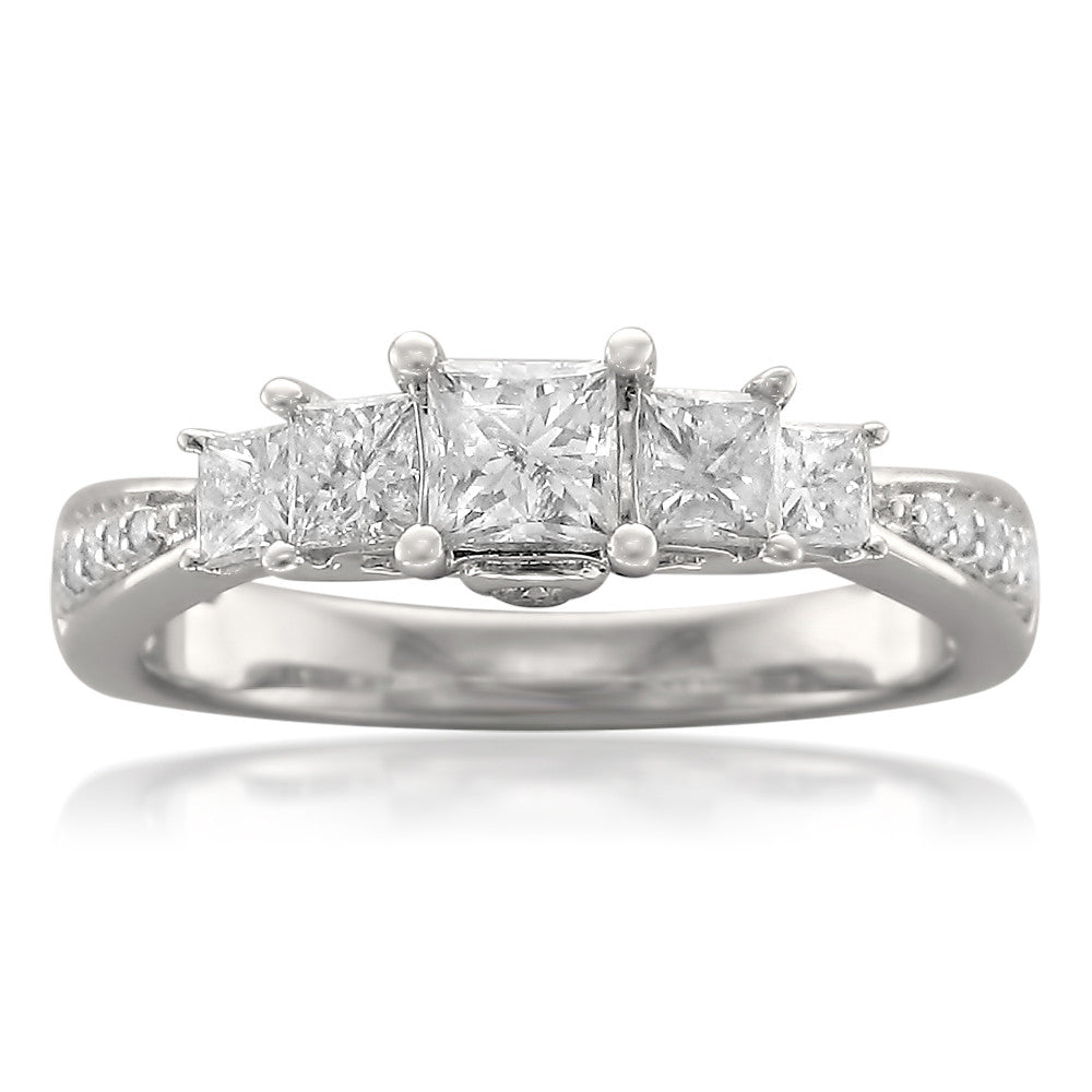 in ring princess cut stone classic rings diamond ct tw engagement p platinum five
