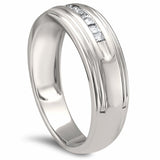 14k White Gold Princess-cut Diamond Men's Wedding Band Ring (1/4 cttw, H-I, I2-I3)