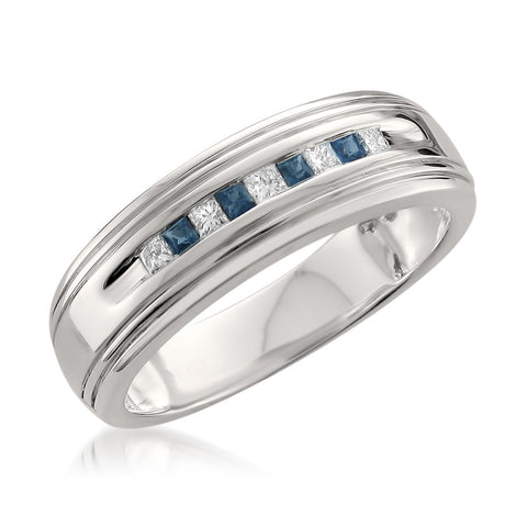 14k White Gold Princess-cut Diamond & Blue Sapphire Men's Wedding Band Ring (1/4 cttw, H-I, I1-I2)