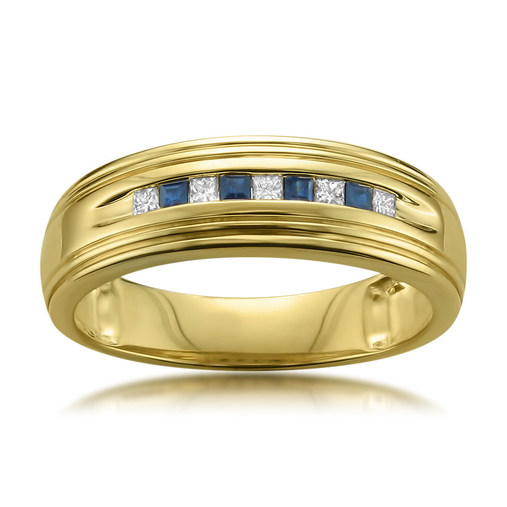 14k Yellow Gold Princess-cut Diamond & Blue Sapphire Men
