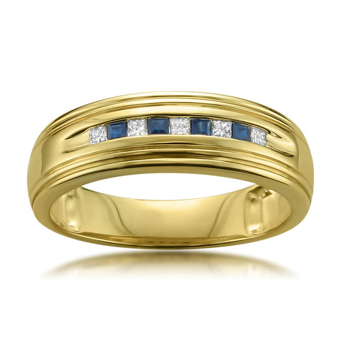 14k Yellow Gold Princess-cut Diamond & Blue Sapphire Men's Wedding Band Ring (1/4 cttw, H-I, I1-I2)