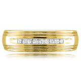 14k Yellow Gold Princess-cut Diamond Men's Wedding Band Ring (1/4 cttw, I-J, I1-I2)