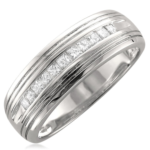 14k White Gold Princess-cut Diamond Men's Wedding Band Ring (1/2 cttw, H-I, SI2-I1)