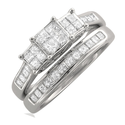 14k White Gold Princess-cut Three-Stone Invisible-Set Diamond Engagement Bridal Ring Set (1 1/10 cttw, I-J, I1-I2)