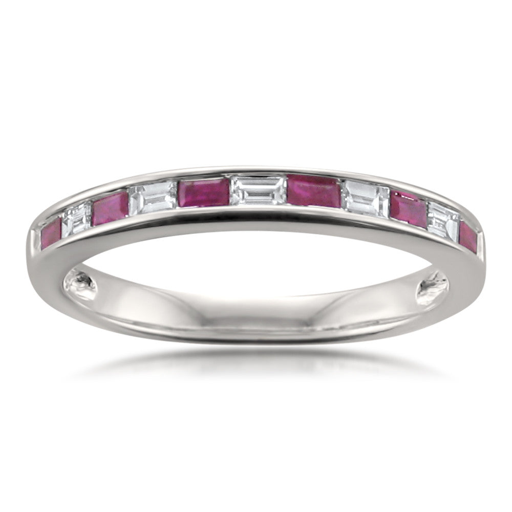 14k White Gold Baguette Diamond & Red Ruby Bridal Wedding Band Ring (1/2 cttw, I-J, VS2-SI1)
