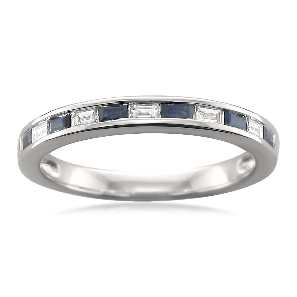 14k White Gold Baguette Diamond & Blue Sapphire Bridal Wedding Band Ring (1/2 cttw, I-J, VS2-SI1)