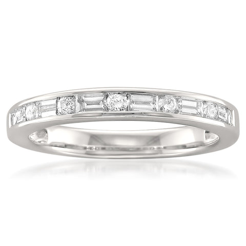 14k White Gold Baguette & Round Diamond Bridal Wedding Band Ring (1/2 cttw, H-I, SI1-SI2)