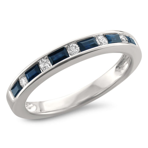 14k White Gold Baguette Blue Sapphire & Round Diamond Bridal Wedding Band Ring (1/2 cttw, H-I, SI2-I1)