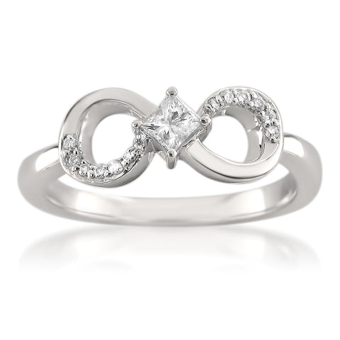 14k White Gold Princess-cut & Round Diamond Infinity Bow Fashion Ring (1/4 cttw, H-I, I2-I3)