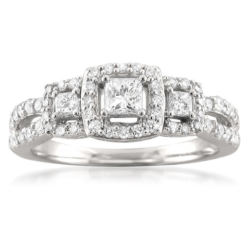 14k White Gold Three-Stone Princess-cut & Round Diamond Halo Engagement Ring (3/4 cttw, H-I, I1-I2)