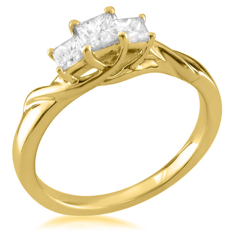 14k Yellow Gold Three-Stone Princess-cut Diamond Engagement Ring (1/2 cttw, H-I, I1-I2)
