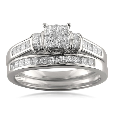 14k White Gold Princess-cut Diamond Engagement Bridal Set Wedding Ring (1 1/10 cttw, H-I, I1-I2)