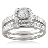 14k White Gold Princess-cut & Round Diamond Halo Engagement Bridal Set Wedding Ring (1 cttw, H-I, I1-I2)