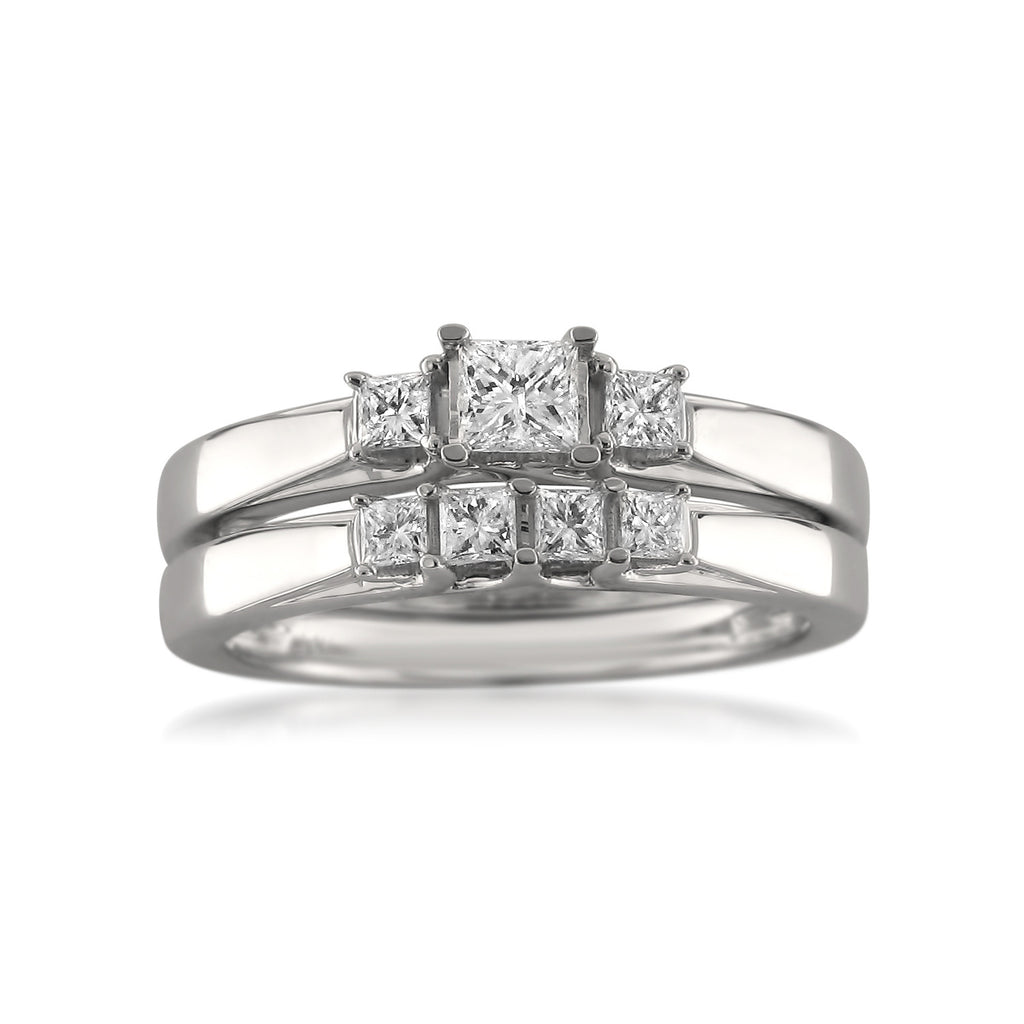 14k White Gold Princess-cut Diamond Three-Stone Engagement Bridal Set Wedding Ring (1/2 cttw, H-I, SI1-SI2)
