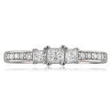 14k White Gold Three-Stone Princess-cut & Round Diamond Engagement Ring (1/2 cttw, H-I, I1-I2)