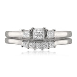 14k White Gold Princess-cut Diamond Three-Stone Engagement Bridal Set Wedding Ring (1/2 cttw, I-J, I1-I2)