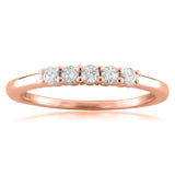 14k Rose Gold 5-Stone Round Diamond Bridal Wedding Band Ring (1/4 cttw, H-I, VS1-VS2)