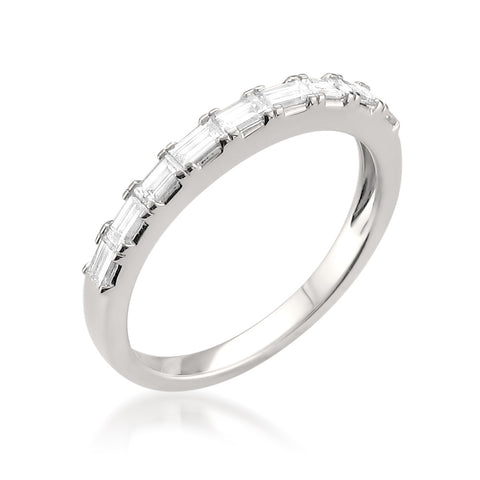 14k White Gold Baguette Diamond Bridal Wedding Band Ring (1/2 cttw, H-I, VS1-VS2)
