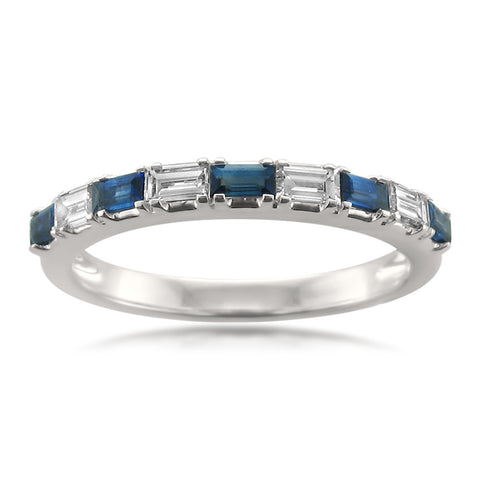 14k White Gold Baguette Diamond & Blue Sapphire Bridal Wedding Band Ring (1/2 cttw, H-I, VS1-VS2)