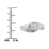 14k White Gold Invisible-Set Three-Stone Princess-cut & Round Diamond Engagement Ring (3/4 cttw, I-J, I1-I2)
