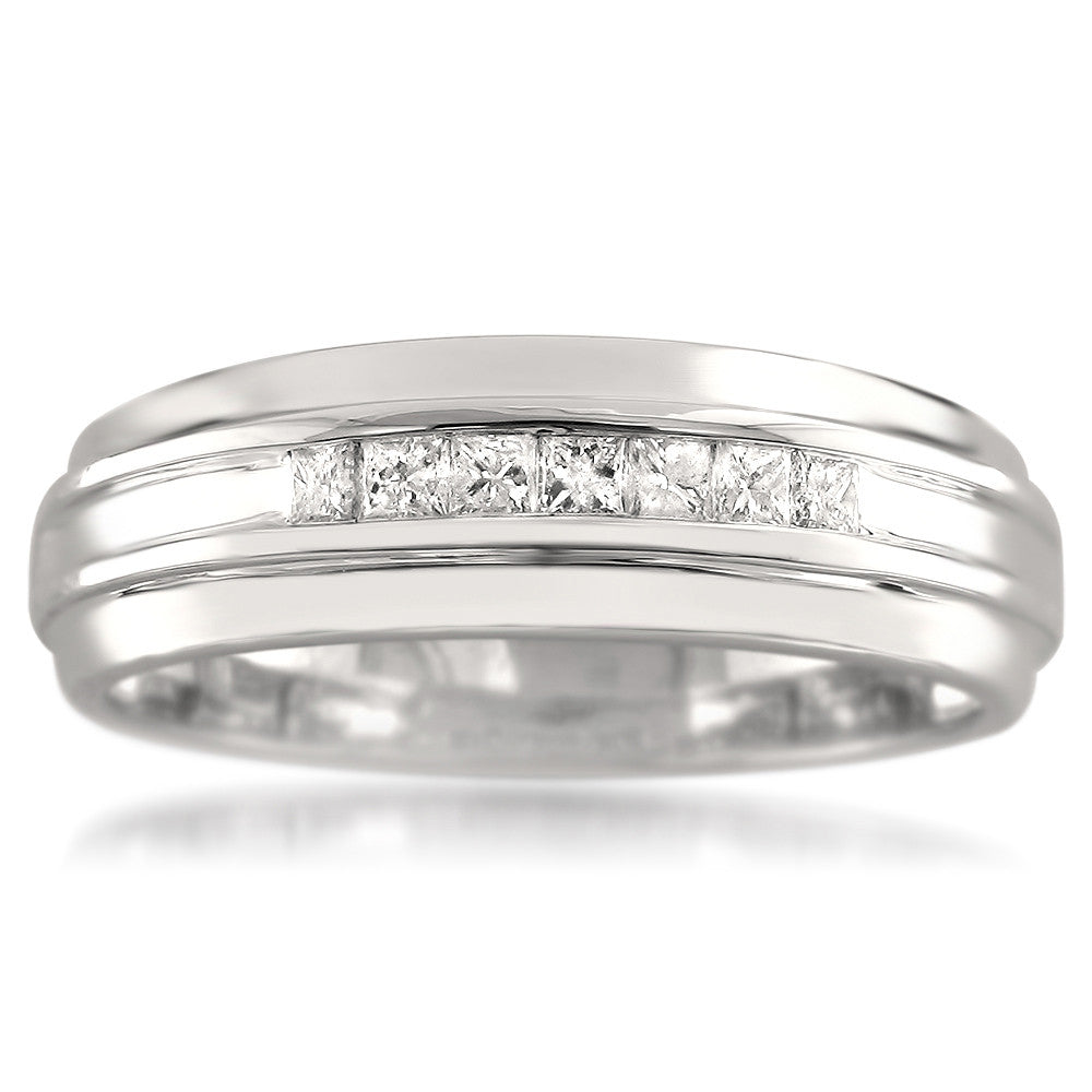 14k White Gold 7-Stone Princess-cut Diamond Men