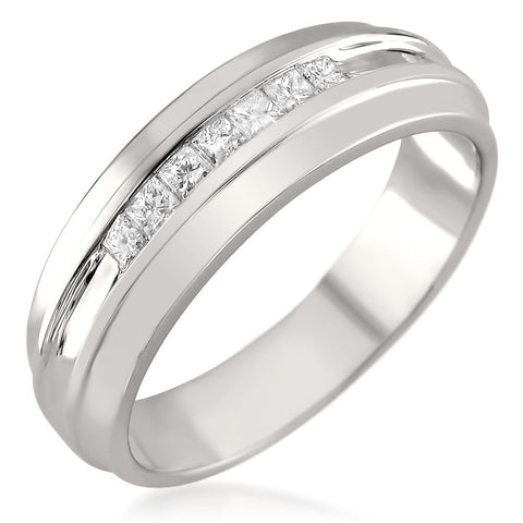 14k White Gold 7-Stone Princess-cut Diamond Men's Wedding Band Ring (1/3 cttw, H-I, I1-I2)
