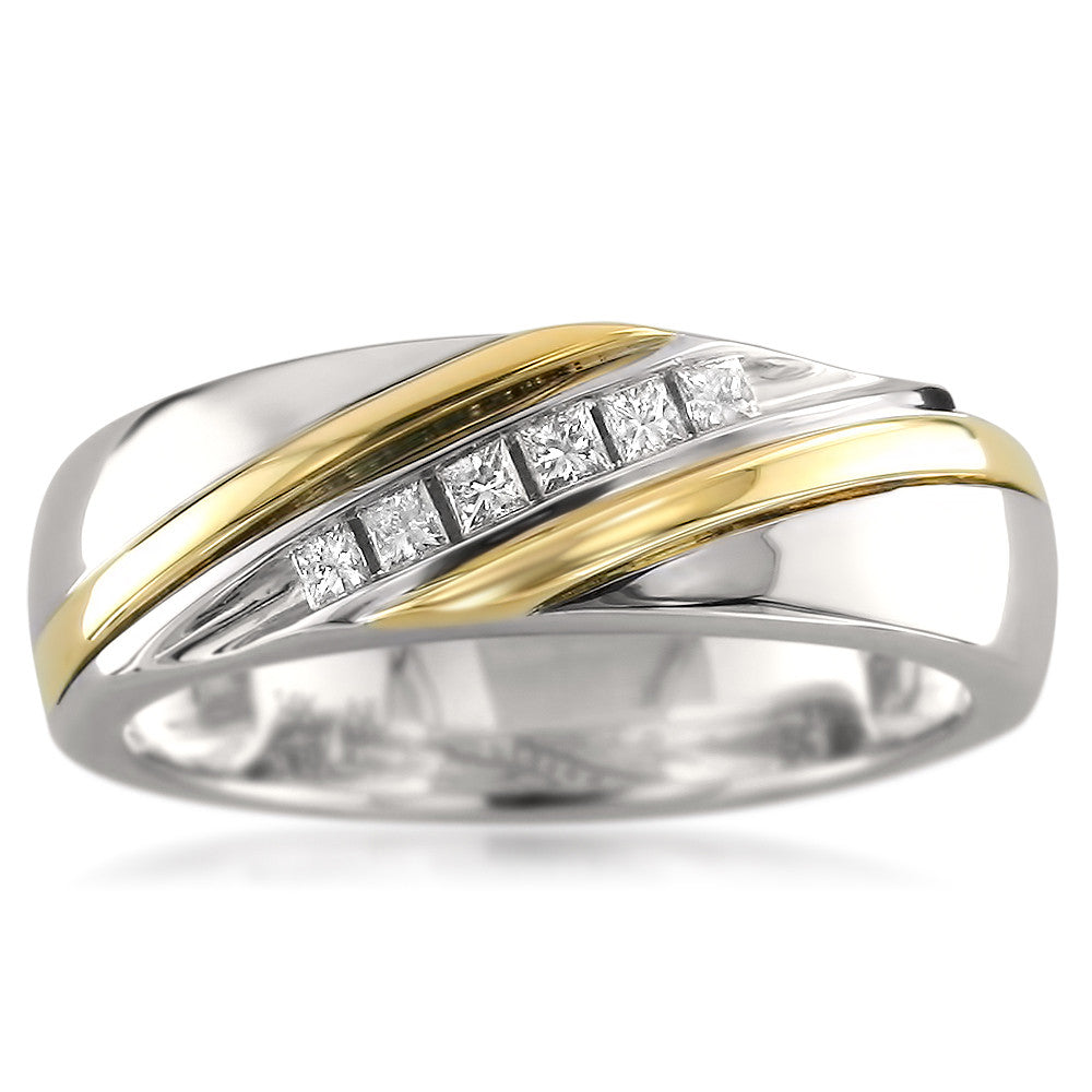 14k Two Tone Yellow Gold Princess Cut Diamond Menu0027s Wedding Band Ring (1/5  Cttw, H I, I1 I2)