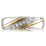 14k Two-Tone Yellow Gold Princess-cut Diamond Men's Wedding Band Ring (1/5 cttw, H-I, I1-I2)