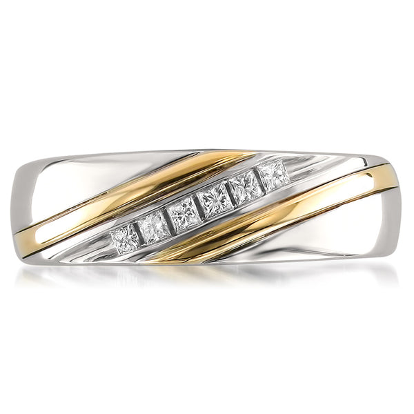 14k Two Tone Yellow Gold Princess cut Diamond Men s Wedding Band