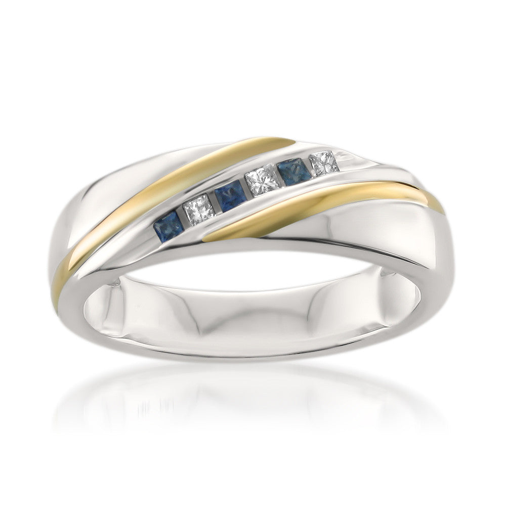 14k Two-Tone Yellow Gold Princess-cut Diamond & Sapphire Men