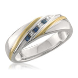 14k Two-Tone Yellow Gold Princess-cut Diamond & Sapphire Men's Wedding Band Ring (1/5 ctw, H-I, I1-I2)