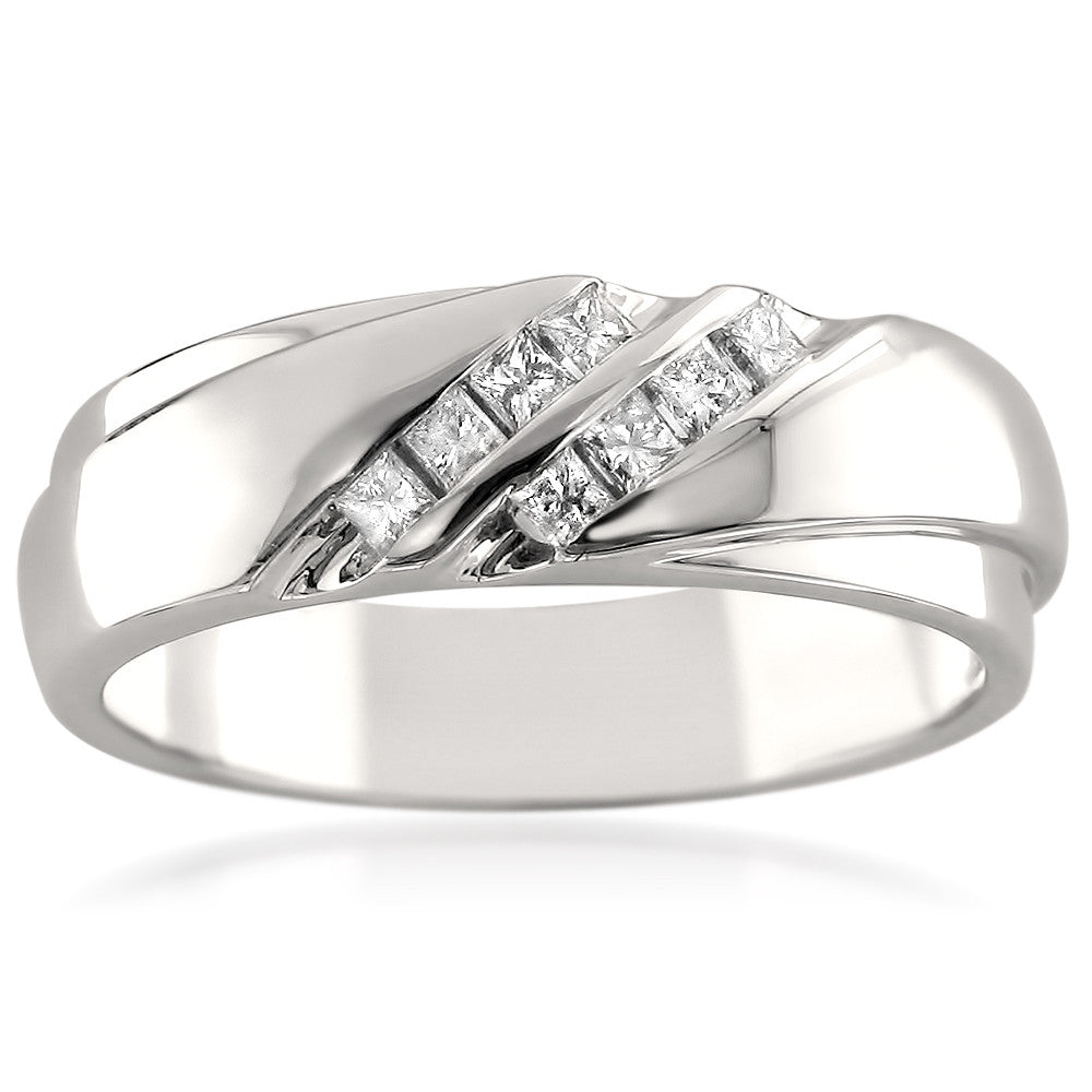14k White Gold Double Row Princess-cut Diamond Men