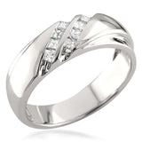 14k White Gold Double Row Princess-cut Diamond Men's Wedding Band Ring (1/4 cttw, H-I, I1-I2)
