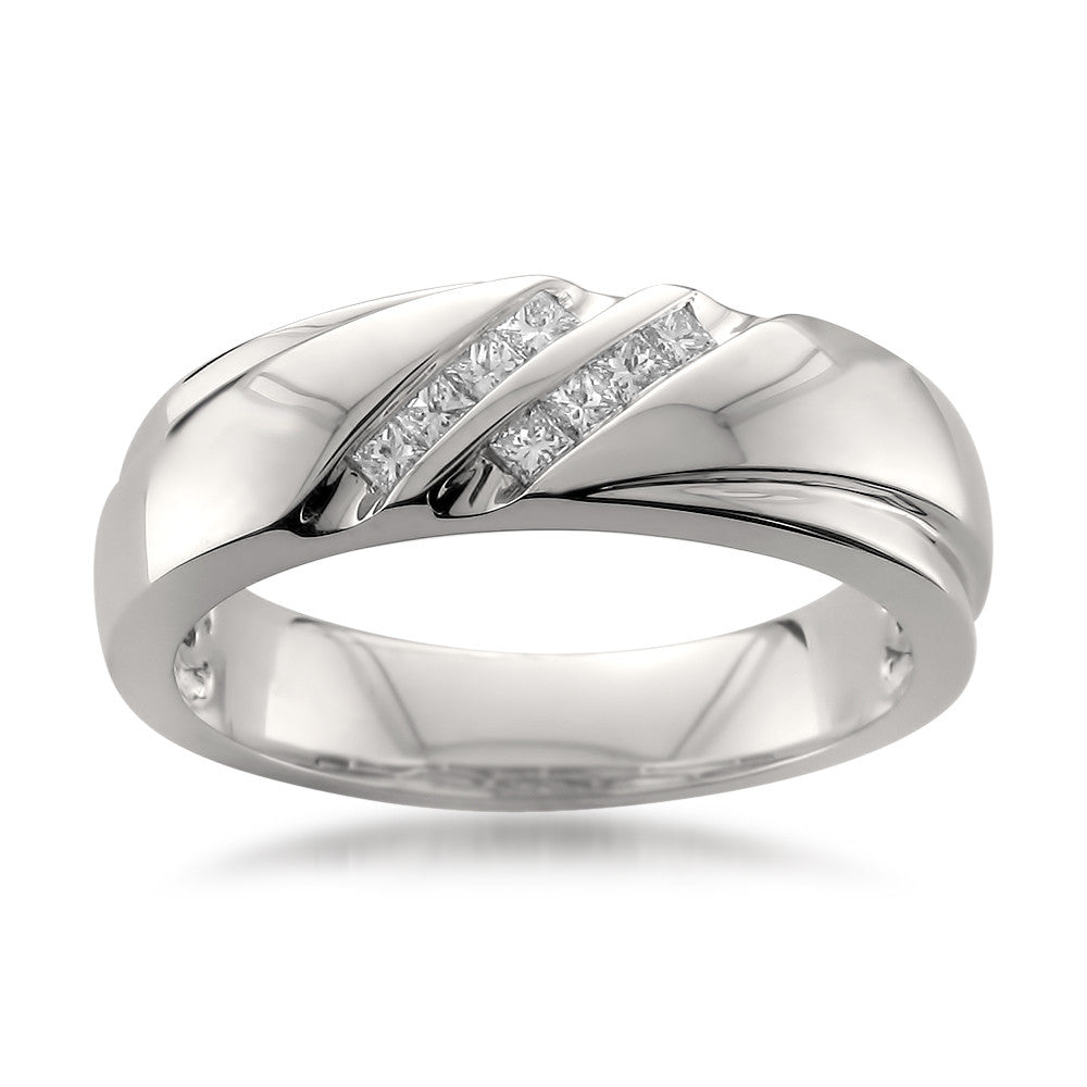 Platinum Double Row Princess-cut Diamond Men