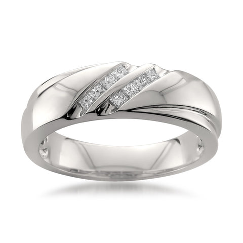 Platinum Double Row Princess-cut Diamond Men's Wedding Band Ring (1/4 cttw, H-I, SI1-SI2)