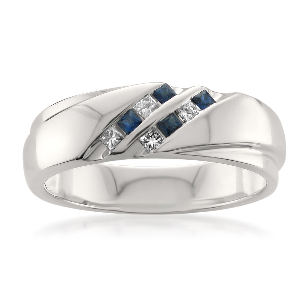 14k White Gold Princesscut Diamond Blue Sapphire Mens Wedding